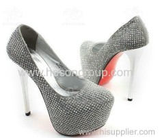 Platform comfortable pull on white heel women dress shoes
