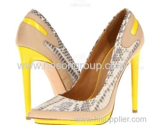 Customized design snake texture high heel women dress pumps