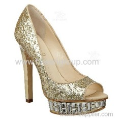 Shining wedding fashion high heel pumps with gold paillettes for bride