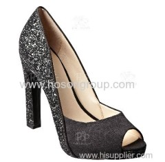 Square heel black shining paillette women dress shoe