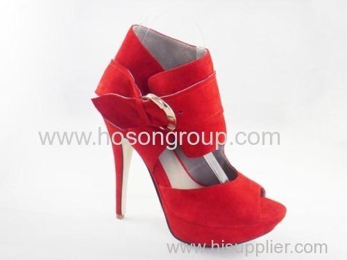 red suede women dress high heel ladies buckle sandles