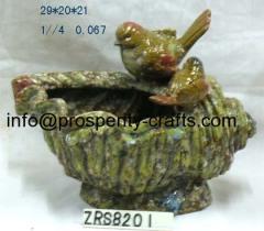 Ceramic Glazed Bird Bath & Feeders