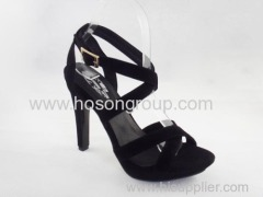 Basic style simple design good quality women high heel sandals with buckle