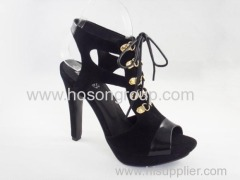 classic women tie up high heel cut out party sandles