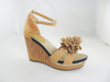 chunky heel women buckle heel with flower