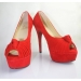 Customized design good quality peep toe high heel red pumps