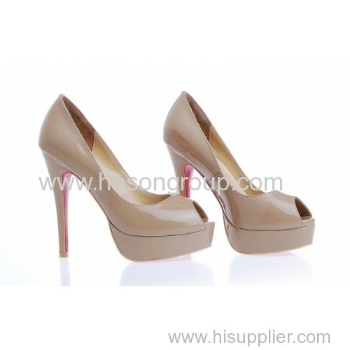 Patent leather women fashion high heel dress pumps