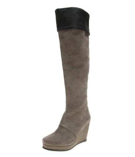 Women suede wedge heel boots grey