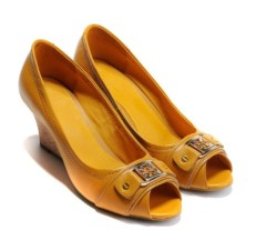 Ladies wedge heel peep toe dress shoes yellow