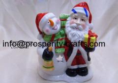 Ceramic Snowman & Santa Claus