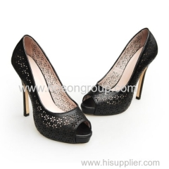 Customized design comfortable good quality black women high heel dress sandals
