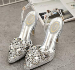 Buckle strap rhinestone stiletto heel women sandals