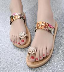 Floral rhinestone clip toe ladies slippers