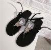 Ladies clip toe flat shoes black