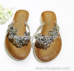 Shiny rhinestone flat heel slippers