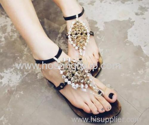 Ladies rhinestone ankle strap slippers
