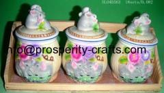 Porcelain Canister with wooden holder