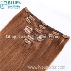 100% Human Hair Clips In Hair Weft Samples Available