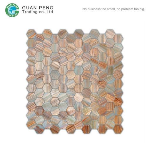 Spanish Bathroom Hot Melt Glass Wall Mosaic Tiles Rhombus Colored Hexagon Mosaic Floor Tile