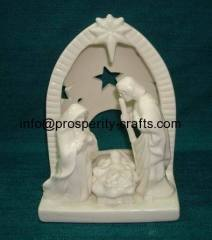 Porcelain Nativity set .