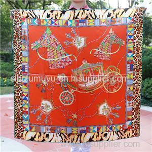 Free Sample Scarf 90*90cm Silk Satin Square Scarf Factory Customize Designer Horse Carriage