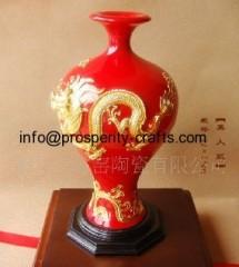 Porcelain Vase With Dragon lacquer thread sculpture .
