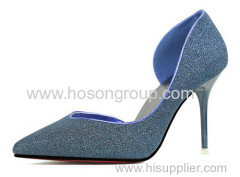 Ladies shine pointy toe high heel shoes
