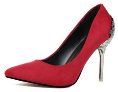 Ladies suede stiletto heel pointy toe shoes