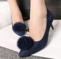 Women pointy toe pum pum low heel dress shoes