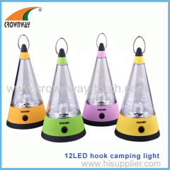 12LED camping lantern hook hanging lamp 15 000MCD high power tent lantern portable lamp 3AA battery CE RoHS approval