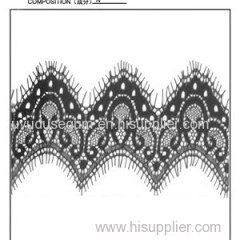 scalloped black galloon cotton eyelash lace and ribbon trimmings(E0002)