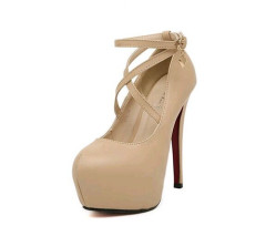 Round toe ankle strap high heel party women shoes