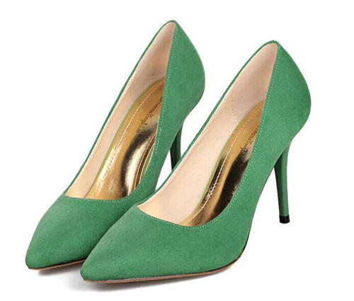 Classic pointed toe suede high heel ladies shoes