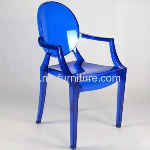 Decorative Polycarbonate Chair With Armrest Clear Ghost Patio Chairs