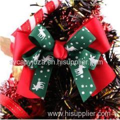 Double Christmas Printed Ribbon Bow For Christmas Tree Package