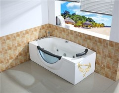 Rectangle Bathtub massage with brass faucet