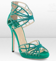 Women cut out rhinestone high heel dress sandals
