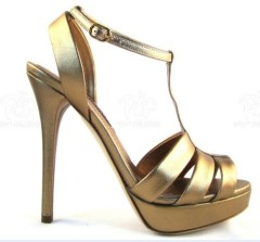 Women T-strap high heel dress shoes gold