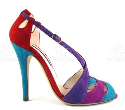 Colorful peep toe cut out ankle strap high heel ladies shoes