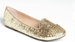 Shiney glittering studded flat women shoes