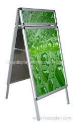 Double side poster stand with header