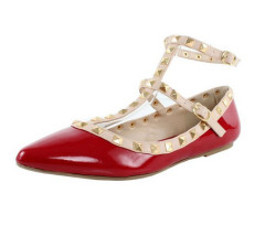 Pointy toe studded flat ladies sandals red
