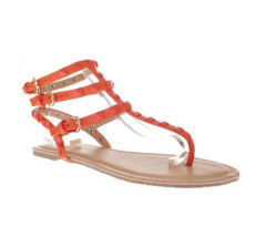 ladies studded clip toe flat sandals