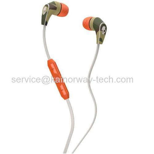 New Skullcandy 50/50 In-Ear Bud Stereo Headphones W/Mic Remote Headset Camo Orange