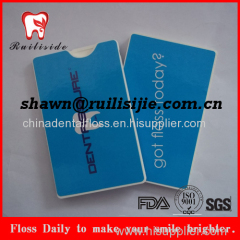Promotion using thin name card dental floss