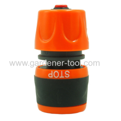 Plastic soft water hose female snap-in connector with waterstop