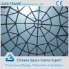 Windproof steel space frame structure glass roof dome for hall
