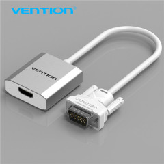 China supplier Metal VGA to HDMI Converter with Female Micro USB and Audio Port White
