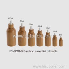 Glazen olie fles met invoeg bamboe fles lichaamsverzorging fles binnen glas 10ml 15ml 30ml 50ml bamboe essentiële olie fles