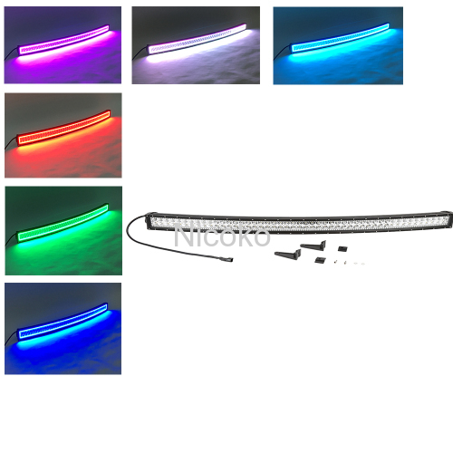 240w 42 Inch Curved Led Bar Off Road Lights Fog Lights Boat Lighting Headlight with RGB Halo ring wiring harness